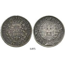 Brazil (Rio mint), 960 reis, Joao VI, 1819-R, struck over a Santiago, Chile, bust 8R of 1816FJ, rare