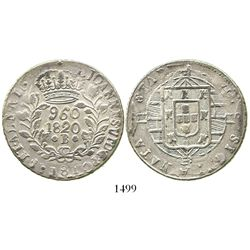 Brazil (Bahia mint), 960 reis, Joao VI, 1820-B, struck over a Cadiz, Spain, bust 8 reales of 1813GJ.