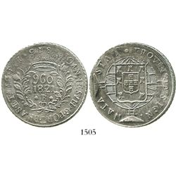 Brazil (Bahia mint), 960 reis, Joao VI, 1821-B, struck over an Argentina (River Plate Provinces, Pot