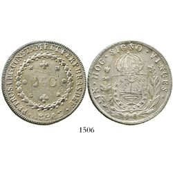 Brazil (Bahia mint), 960 reis, Pedro I, 1824-B, struck over a Zacatecas, Mexico, bust 8 reales of Fe