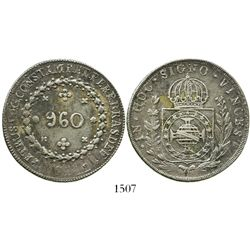 Brazil (Bahia mint), 960 reis, Pedro I, 1824-B, struck over a Guanajuato, Mexico, bust 8 reales of F