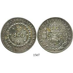 Brazil (Bahia mint), 960 reis, Pedro I, 1824-B, struck over a Guanajuato, Mexico, bust 8 reales of F
