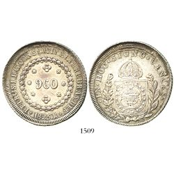 Brazil (Rio mint), 960 reis, Pedro I, 1825-R, struck over earlier issue.