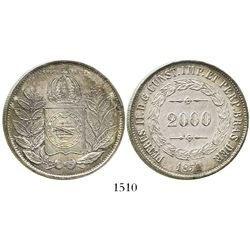 Brazil, 2000 reis, Pedro II, 1851.