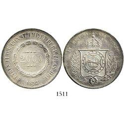 Brazil, 2000 reis, Pedro II, 1853.
