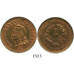Central American Union, bronze essai 2 centavos, 1889.
