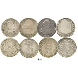 Lot of 4 Santiago, Chile, bust 2 reales of Charles III, Charles IV and Ferdinand VII: 1781DA, 1785DA