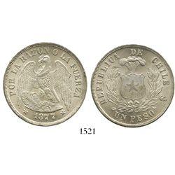 Santiago, Chile, 1 peso, 1877.
