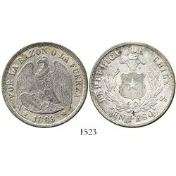 Santiago, Chile, 1 peso, 1883 (round-top 3).
