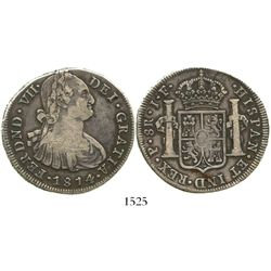 Popayan, Colombia, bust 8 reales, Ferdinand VII, 1814JF, very rare.
