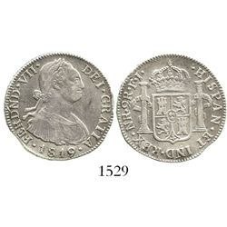 Bogota, Colombia, bust 2 reales, Ferdinand VII (bust of Charles IV), 1819FJ, normal date.