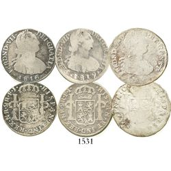 Lot of 3 Colombian bust 2R of Ferdinand VII (bust of Charles IV): Bogota 1816FJ; Bogota 1819JF; and