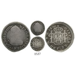 Bogota, Colombia, bust 1/2 real, Charles IV, 1799JJ, rare.