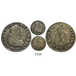 Bogota, Colombia, bust 1/2 real, Ferdinand VII (bust of Charles IV), 1812JF, mintmark as MR, rare.