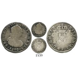 Bogota, Colombia, bust 1/2 real, Ferdinand VII (bust of Charles IV), 1812JF, mintmark as MR, rare, e