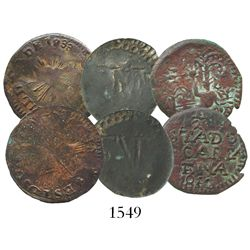 Lot of 3 copper 1/4R of the early 1800s: Cartagena 1813; Santa Marta Ferdinand VII (1813); and Hermo