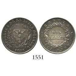 Bogota, Colombia, 2 reales, 1853.