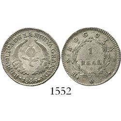 Bogota, Colombia, 1 real, 1846RS.
