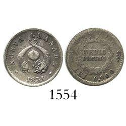 Bogota, Colombia, 1/2 decimo, 1854.