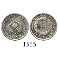 Bogota, Colombia, 1/2 decimo, 1860.