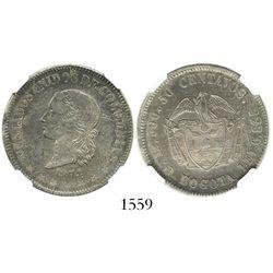 Bogota, Colombia, 50 centavos, 1874, denomination as  50,  encapsulated NGC AU 58.