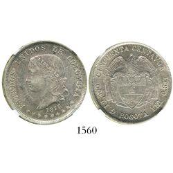 Bogota, Colombia, 50 centavos, 1878, encapsulated NGC AU 53.