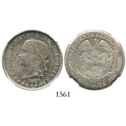 Bogota, Colombia, 50 centavos, 1880, encapsulated NGC AU 58.