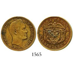 Colombia, brass pattern struck in 1918 for a 10 pesos (gold) of 1919 and 1924, struck on a US Army R