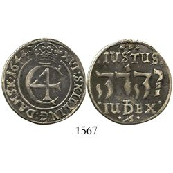 Denmark, 16 skilling, 1644, mintmark at bottom below  Jehovah  in Hebrew.