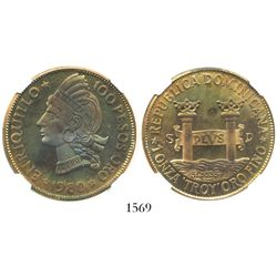 Dominican Republic, proof pattern of gold 100 pesos, 1980, Enriquillo, encapsulated NGC PF 65 UTRA C