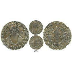Quito, Ecuador, 2 reales, 1834/5GJ, unique overdate, no dot after CONSTITUCION, encapsulated NGC VF