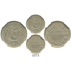 Ecuador (struck in Birmingham, England), copper-nickel 5 centavos, 1909-H, encapsulated NGC UNC deta