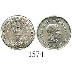 Ecuador (struck in Birmingham, England), copper-nickel 5 centavos, 1924-H, encapsulated PCGS MS64, f