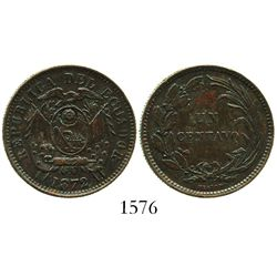 Ecuador (struck in Birmingham, England), copper 1 centavo, 1872-HEATON, with unidentified incuse-flo