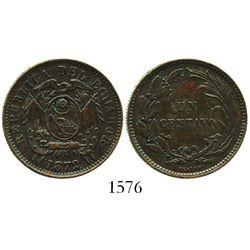 Ecuador (struck in Birmingham, England), copper 1 centavo, 1872-HEATON, with unidentified incuse-flo