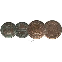 Lot of 2 Ecuador copper minors of 1890-H (struck in Birmingham, England): 1 centavo and 1/2 centavo.