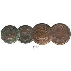 Lot of 2 Ecuador copper minors of 1890-H (struck in Birmingham, England): 1 centavo and 1/2 centavo.