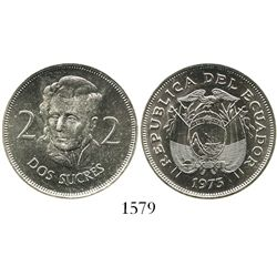 Ecuador (struck in Germany), copper-nickel 2 sucres, 1973.
