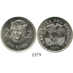 Ecuador (struck in Germany), copper-nickel 2 sucres, 1973.