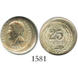 El Salvador (struck in Denver), 25 centavos, 1953, encapsulated ANACS AU 58, unique error struck abo