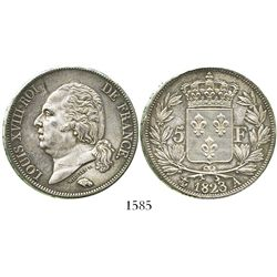 France (Paris mint), 5 francs, 1823-A.