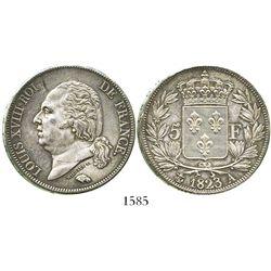 France (Paris mint), 5 francs, 1823-A.