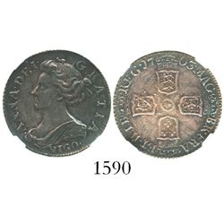 London, England, sixpence, 1703, with VIGO below bust of Anne, encapsulated NGC XF 45.