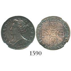 London, England, sixpence, 1703, with VIGO below bust of Anne, encapsulated NGC XF 45.