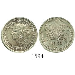 Guadeloupe, copper-nickel 50 centimes, 1903.