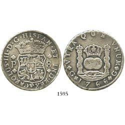 Guatemala, pillar 8 reales, Charles III, 1766P.
