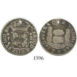 Guatemala, pillar 2 reales, Charles III, 1763P.