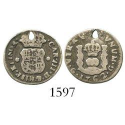 Guatemala, pillar 1/2 real, Charles III, 1762.