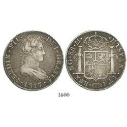 Guatemala, bust 8 reales, Ferdinand VII, 1817M.