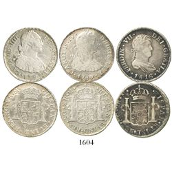 Lot of 3 Guatemala bust 2 reales of Charles IV and Ferdinand VII: 1789M (bust of Charles III), 1797M